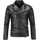 Men's Genuine Black Slim fit Biker Motorcycle jacket PU Leather Jacket