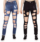 Womens Jeans High Rise Ripped Slim Fit Skinny Destroyed Denim Distressed Pants