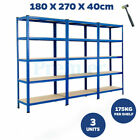 METAL RACKING 3 BAY 5 TIER SHELVING INDUSTRIAL GARAGE WAREHOUSE STORAGE SHELF