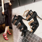 Europe Stylish Womens summer sandals High heels Open toe Buckle shoes Plus size