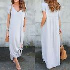 Women Casual Loose V-Neck Batwing Short Sleeve Solid Side Split Maxi Long N4U8