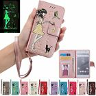 Magnetic Flip Leather Stand Card Luminous Wallet Case Cell Cover For Sony Xperia