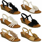 Ladies Wedge Sandals Womens Open Toe Flowers Shoes Buckle Party Fashion Summer