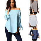 UK Fashion Womens Summer Loose Casual Off Shoulder Shirt Tops Blouse Ladies Top