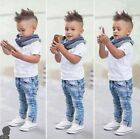 3PCS Toddler Kid  Baby Boys T-shirt tops+ denim pants +scarf Clothes Outfit Se′
