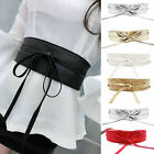 Womens Leather Wide Waistband Self Tie Wrap Around Boho Corset Dress Waist Belt