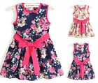 Summer Girl Kids Baby Floral Printed Princess Party Dress Tutu Skirt With Belt