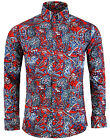 NEW MADCAP RETRO MOD 60s SUNSET PAISLEY 3 BUTTON COLLAR SHIRT:RED MC323