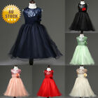 Sequin Flower Wedding Bridesmaid Party Princess Prom Dress Girls Kids
