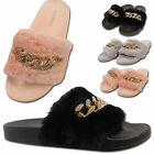 Ladies Womens Diamante Fur Chain Sliders Flip Flop Rubber Slippers Flats Shoes