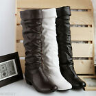 Women's Knee High Boots Faux Leather Low Heel Shoes Black/White/Brown UK Sz O777