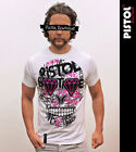 Pistol Boutique mens White crew neck GRAFFITI CANDY SKULL design fashion t-shirt