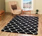 Modern Moroccan Black Trellis Shaggy Carpet Contemporary Soft Area Rug Thick 5CM