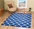 Modern Royal Blue Trellis Shaggy Carpet Contemporary Moroccan Area Rug Thick 5CM