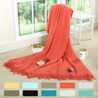 Soft Woven Throw Couch Cover Blanket with Tasseled Ends, 67 x 51 Inch