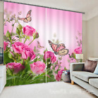 3D Butterfly Roses Blockout Photo Curtain Printing Curtains Drapes Fabric Window