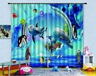 3D Dolphin Hole Blockout Photo Curtain Printing Curtains Drapes Fabric Window AU