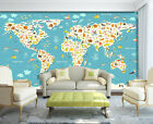 3D Pretty World Map 006 WallPaper Murals Wall Print Decal Wall Deco AJ WALLPAPER