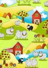 KNIT HAPPY - BLACK AND WHITE SHEEP AND BARN SCENE - BY HENRY GLASS - 100% cotton