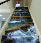 3D Flowing River 36 Stair Risers Decoration Photo Mural Vinyl Decal Wallpaper UK
