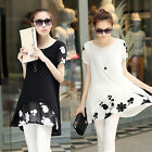 New Summer Ladies Blouse Short Sleeve Chiffon T-Shirts Embroidery Flower Dress