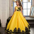 New Kids Girls Lace Embroidery Pleated Wedding Princess Pageant Maxi Party Dress