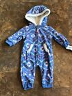 NWT Carter's Blue Purple Bunting Outfit Pajamas Fleece Hooded 0 3 6 12 months