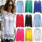 Plus Size UK Womens Lace Long Sleeve Chiffon Top T-Shirt Maxi Blouse Beach Tops