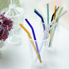 Bent Glass Tube Colorful 8mm Eco Friendly Glass Drink Straw For Cocktail Party