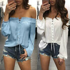 Fashion Womens Loose Sleeveless Off Shoulder T Shirt Casual Blouse Summer Tops