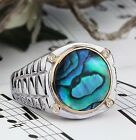 Men's Watch Band Ring in 925 STERLING SILVER with GENUINE DIAMONDS and Abalone