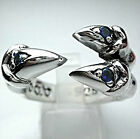 BLUE SAPPHIRE HAWK EAGLE CLAW SOLID 925 STERLING SILVER GOTHIC RING MENS BIKER