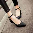 Women's Grace Pointed Toe Ankle Strap Chunky Block Heel Mary Janes Dress Shoes