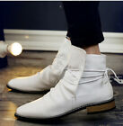 Stylish Mens Pointed Toe Lace Up Business Casual Snkle Boots High Top Shoes D414