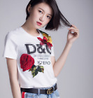 2017 spring & summer occident black or white embroidery fashion T shirt S~XL