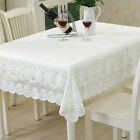 White Plum Tablecloth Hollow Flower Embroidery Table Cloth Sofa Towel Cover Deco