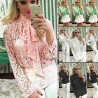 Women Summer Long Sleeve Bowknot Lace Top Blouse Casual Tank Tops T-Shirt USHF