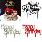 "6"" Black Gold Silver Glitter 'Happy Birthday' Party Decoration Cake Topper"
