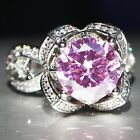 Flower shape Pink Sapphire 925 Silver Filled Birthstone Engagement Wedding Ring