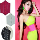Womens Lady Elastic Wrap Around Tie Corset cincher Waist Wide Belt Faux Leather