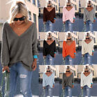 New UK Womens Autumn V Neck Sweater Blouse Sweatshirt Dress Jumper Pullover Tops
