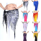 Belly Dance Triangle Skirt Bead Sequin Fringe Tassel Mesh Hip Scarf Belt Wrap AU