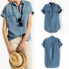 Fashion Womens Lapel Denim Jean Short Sleeve Casual Loose Tops Blouse T-Shirt