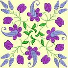 Anemone Quilt Squares 2- DESIGN 9- Anemone Machine Embroidery Singles In 4 Sizes