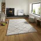 QUALITY SMALL LARGE MODERN DIAMOND ROYAL NOMADIC THICK CREAM GREY SHAGGY RUG