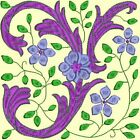 Anemone Quilt Squares 3- DESIGN 2- Anemone Machine Embroidery Singles In 4 Sizes