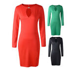 Women Bodycon Dress Long Sleeve Casual Pencil Evening Party Cocktail Fashion
