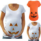 Pregnant Women Pumpkin Carved Face Halloween Maternity T-shirt Pregnancy Tops