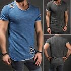 Ripped Men's Tee Shirt Slim Fit O Neck Short Sleeve Muscle Casual Tops T-Shirts