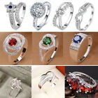 Women 925 Sterling Sliver Stamped Wedding Ring Jewelry Crystal Gem Zircon Rings